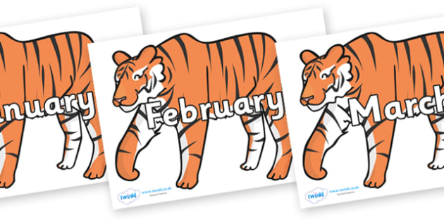Months of the Year on Chinese New Year Tiger - Months of the Year, Months poster, Months display, display, poster, frieze, Months, month, January, February, March, April, May, June, July, August, September