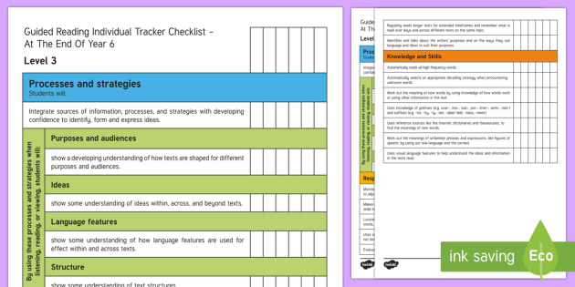New Zealand End of Year 6 Reading Individual Tracker Checklist - Reading, Assessment, End of Year 6