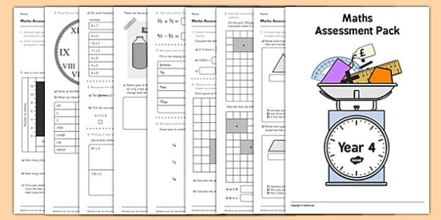 Year 4 Maths Assessment Pack Term 1 - assessment, pack, year 4