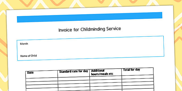 Invoice for Childminding Service Template - child minder, invoice