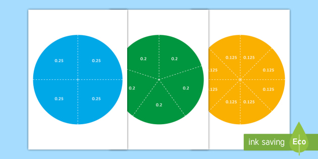 Decimal Circle Puzzles Cut-Outs  - numeracy games, math games, parts of a whole, whole, part, half, third, quarter, fifth, sixth, seven