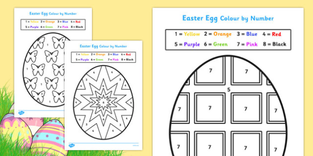 easter egg colouring by numbers sheets colouring sheets