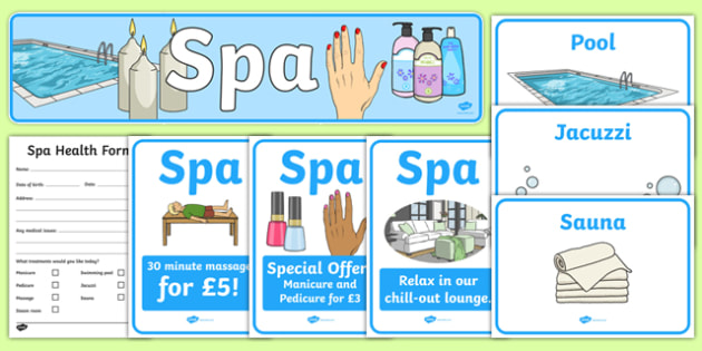Spa Role Play Pack - spa, role play, the spa, health and wellbeing, pack