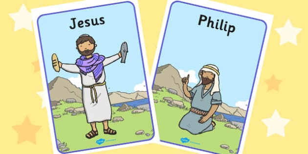 Jesus Feeds the 5000 Bible Story Display Posters - poster, visual