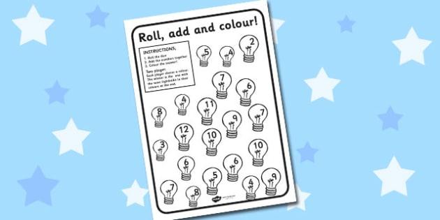 Lightbulb Roll and Colour Worksheet - lightbulb, roll, colour