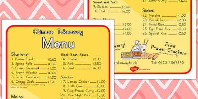 Chinese Takeaway Role Play Menu - food, takeaways, lists, foods