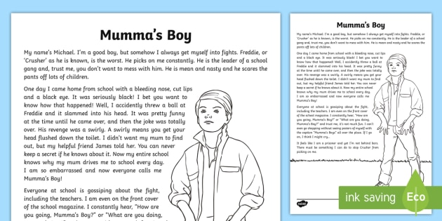 Mummas Boy Narrative Writing Sample Literacy Narratives