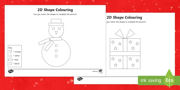 Christmas Colour by 2D Shape Worksheet / Activity Sheets