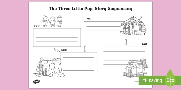 image regarding Three Little Pigs Printable named The A few Minimal Pigs Tale Sequencing Worksheet - Early