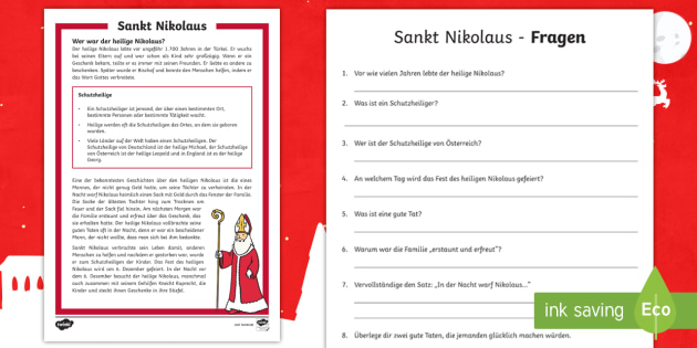 Sankt Nikolaus Leseverstehen Arbeitsblätter - Nikolaustag