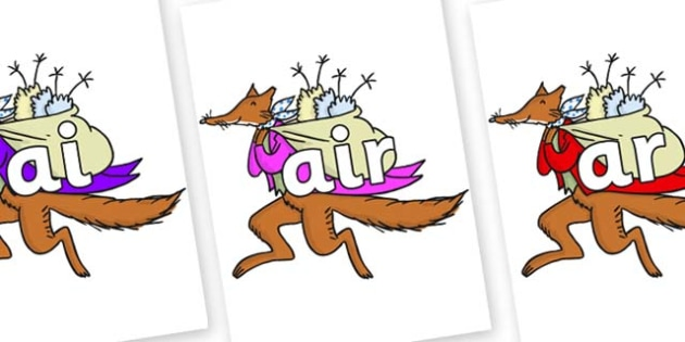 Phase 3 Phonemes on Mr Fox to Support Teaching on Fantastic Mr Fox - Phonemes, phoneme, Phase 3, Phase three, Foundation, Literacy, Letters and Sounds, DfES, display
