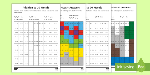 Addition and Subtraction Mosaic Activity Sheets - addition, subtraction, colour, colouring, maths, numeracy, worksheet, adding, takeaway, minus,