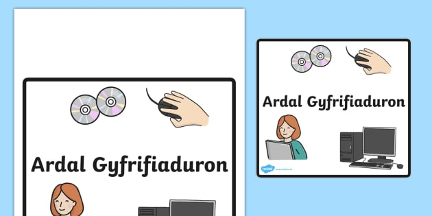 Ardal Gyfrifiaduron - computer area, sign, welsh, wales, language