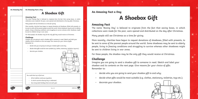 A Shoebox Gift Worksheet / Activity Sheet - Amazing Fact Of The Day, worksheet / activity sheets, powerpoint, starter, morning activity, December, shoe box