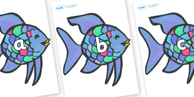 Phase 2 Phonemes on Rainbow Fish to Support Teaching on The Rainbow Fish - Phonemes, phoneme, Phase 2, Phase two, Foundation, Literacy, Letters and Sounds, DfES, display