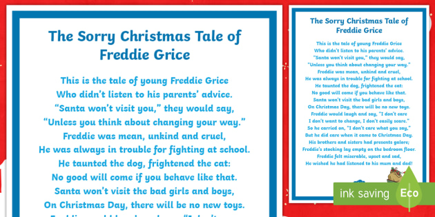 KS2 The Sorry Christmas Tale of Freddie Grice Poem - Christmas