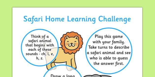 Safari EYFS Home Learning Challenge Sheet Reception FS2 - safari, eyfs, home learning