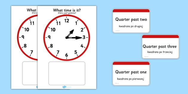 Analogue Clocks Quarter Past Matching Polish Translation - polish, Clock time matching game, Time, Time resource, Time vocabulary, clock face, O'clock, half past, quarter past, quarter to, shapes spaces measures, clock game, time game, foundation sta