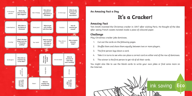 Amazing Fact a Day KS2 Countdown to Christmas Day 23 Its a Cracker Activity Sheet - Amazing Fact Of The Day, activity sheets, powerpoint, starter, morning activity, December, Christmas