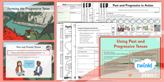 PlanIt Y2 SPaG Lesson Pack: Forming the Progressive Tense - verbs, verb, tense, tenses, conjugate, infinitive