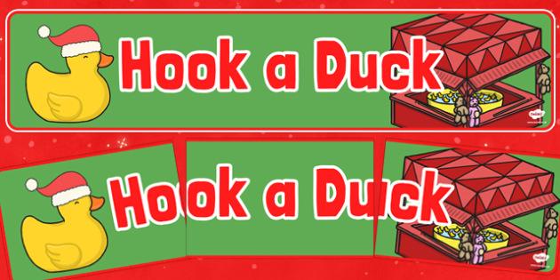 Christmas Themed Hook a Duck Banner - christmas fair, display banner, display, banner, hook a duck