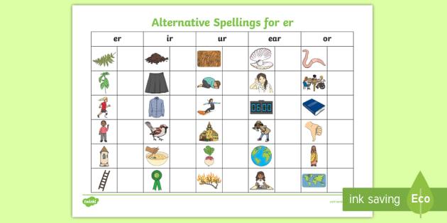 Alternative Spellings Er Ur Ir Ear Or Table Worksheet