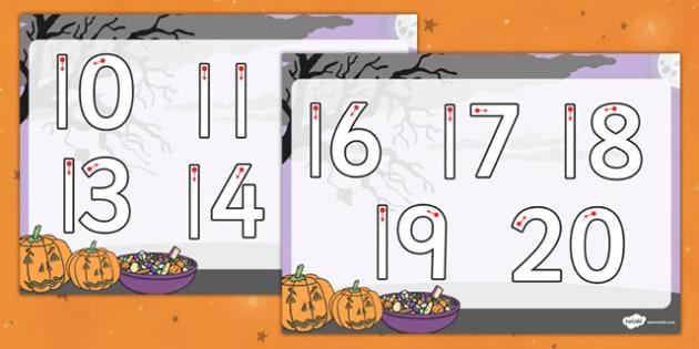 Halloween Number Formation Worksheet 10-20 - halloween, number, formation, worksheets, 10-20, overwriting