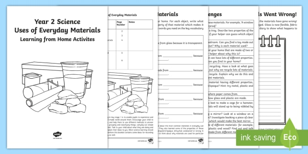 Year 2 Science Uses of Everyday Materials Learning from Home Activity Booklet - home learning, science, materials, everyday materials, properties, glass, wood, metal, plastic, glas