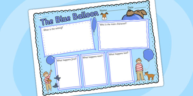 Book Review Writing Frame to Support Teaching on The Blue Balloon - the blue balloon, book review, writing frame, book review writing frame, writing aid, writing template, write