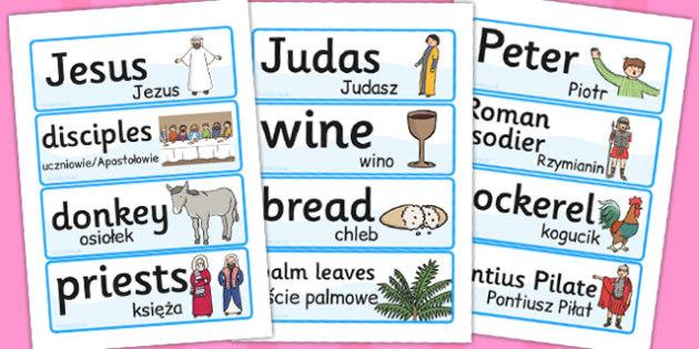 Easter Word Cards Polish Translation - season, seasons, literacy