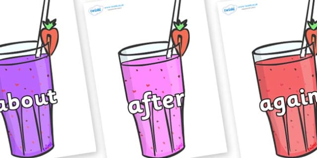 KS1 Keywords on Smoothies - KS1, CLL, Communication language and literacy, Display, Key words, high frequency words, foundation stage literacy, DfES Letters and Sounds, Letters and Sounds, spelling