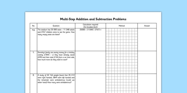 Multi-Step Addition and Subtraction Problems - multi-step, addition, subtraction, problems