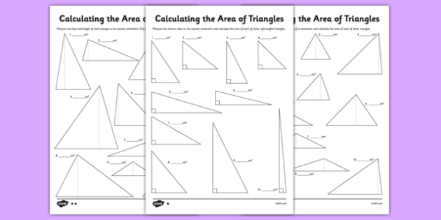 Differentiated Calculating The Area Of Triangles Worksheet