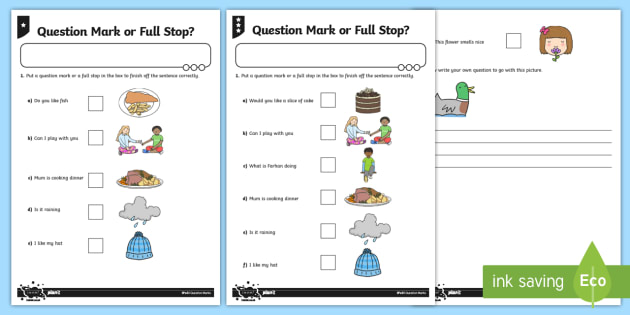 question mark or full stop differentiated worksheet activity. Black Bedroom Furniture Sets. Home Design Ideas