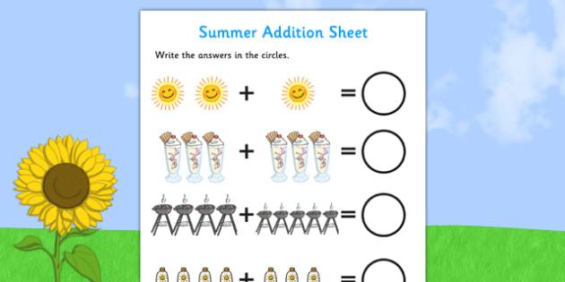 Summer Addition Sheet - summer themed, addition sheet, addition, addition worksheet, summer themed worksheet, summer themed addition sheet