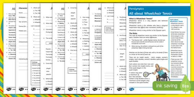 Wheelchair Tennis Differentiated Reading Comprehension Activity-Australia