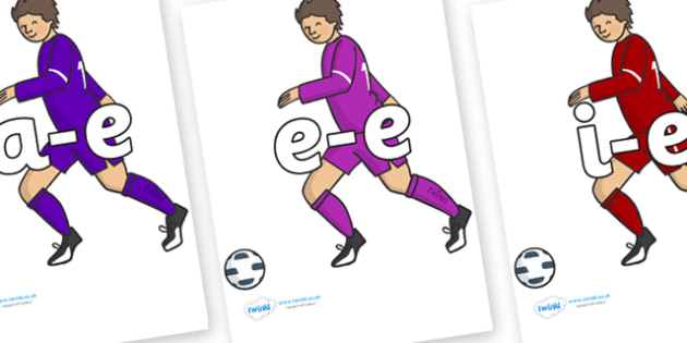Modifying E Letters on Football Players - Modifying E, letters, modify, Phase 5, Phase five, alternative spellings for phonemes, DfES letters and Sounds
