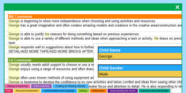 EYFS Report Writing Bank of Statements CoEL Areas of Learning and General -
