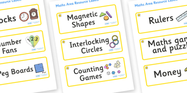 Star Themed Editable Maths Area Resource Labels - Themed maths resource labels, maths area resources, Label template, Resource Label, Name Labels, Editable Labels, Drawer Labels, KS1 Labels, Foundation Labels, Foundation Stage Labels, Teaching Labels