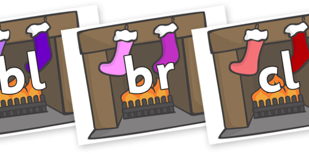 Initial Letter Blends on Stockings & Fireplace - Initial Letters, initial letter, letter blend, letter blends, consonant, consonants, digraph, trigraph, literacy, alphabet, letters, foundation stage literacy