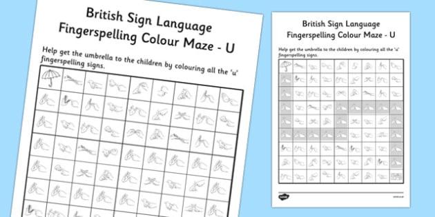 British Sign Language Left Handed Fingerspelling Colour Maze U