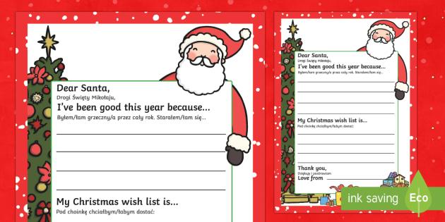 My Christmas Wish Letter to Santa English/Polish - My Christmas Wish Letter to Santa Writing Template - christmas, wish, letter, father christmas, sant
