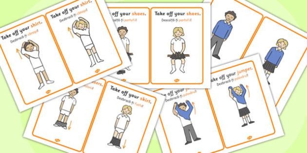 PE Changing Clothes Cards Romanian Translation - romanian, cards