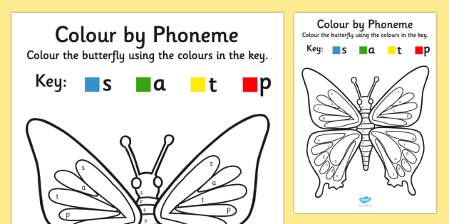 Colour by Phoneme Butterfly Phase 2 s a t p - phoneme, phase 2