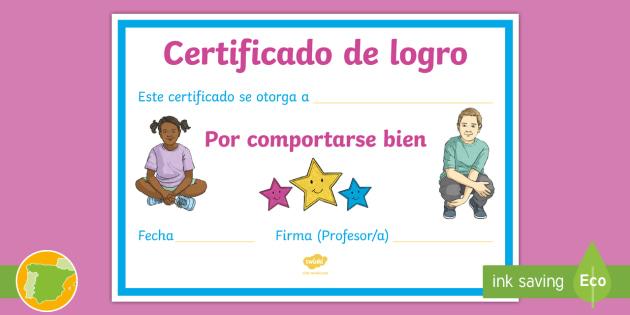 de logro por comportarse bien Certificado - Diploma, premio, certificado, logro,Spanish