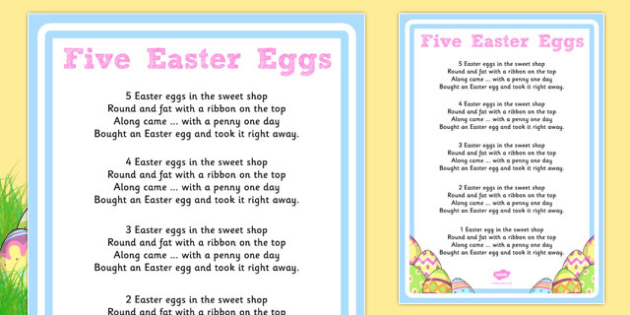 Five Easter Eggs Counting Song Sheet - counting, song, sheet