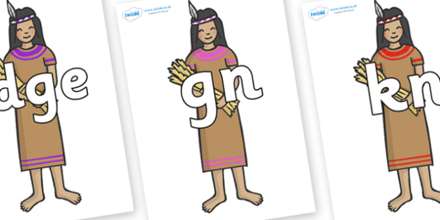 Silent Letters on Native American - Silent Letters, silent letter, letter blend, consonant, consonants, digraph, trigraph, A-Z letters, literacy, alphabet, letters, alternative sounds