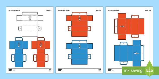 Simple 3D Fraction Blocks Teaching Aid Paper Craft