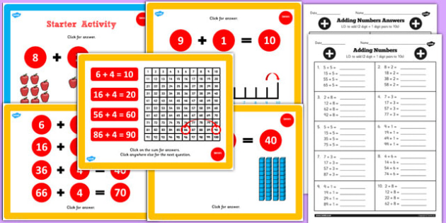 Year 2 Adding 2 Numbers and Ones Pairs and Bonds to 10 Lesson