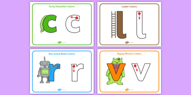 Letter Formation Posters - Curly caterpillar, one armed robots, zigzag monsters, zig zag, long ladder, Handwriting, letter formation, workbook, writing practice, foundation, letters, writing, learning to write, DFES letters and sounds